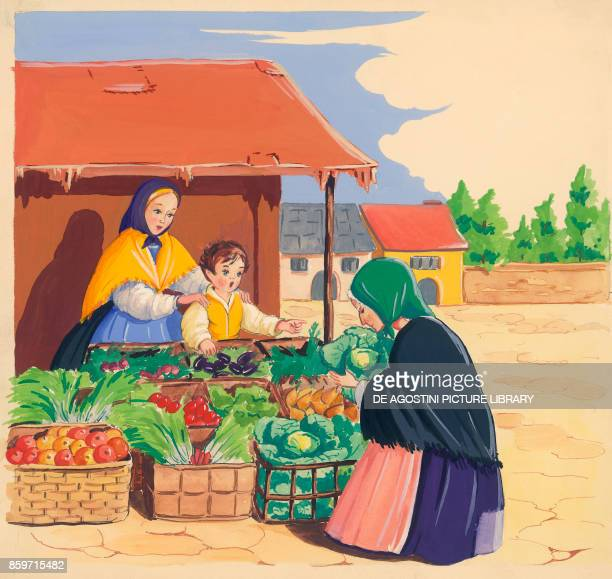 A boy and his mother selling vegetables at the market children's illustration drawing