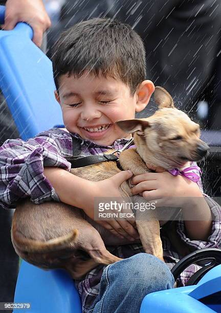 Boy and his pet chihuahua wince as they are sprinkled with holy water by Cardinal Roger Mahony at the Blessing of the Animals at Olvera Street in...