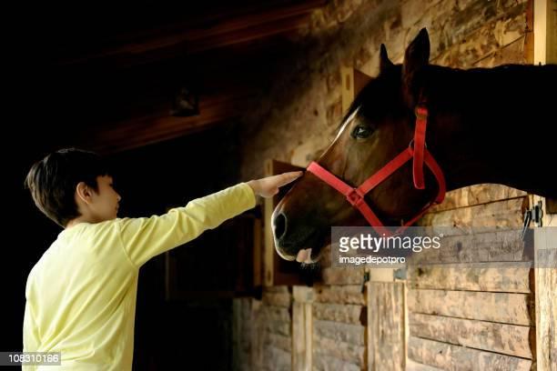 Junge und Pferd