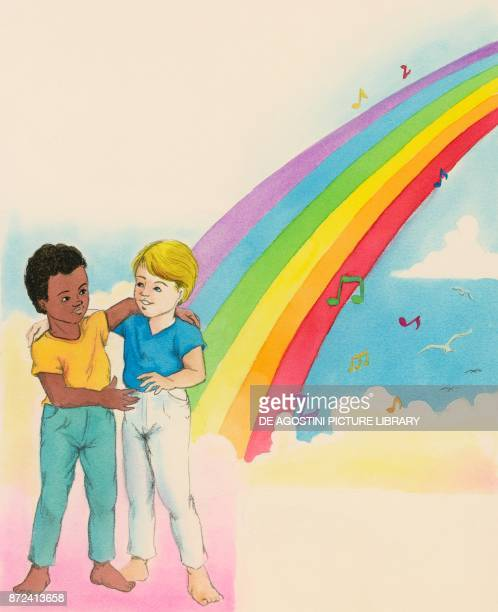 Boy and little girl hugging under the rainbow of Peace children's illustration drawing