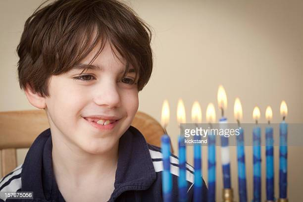 Boy and Menorah