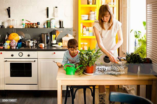 Boy and mother tending pot plants at kitchen table