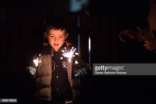 Boy and Sparklers 1