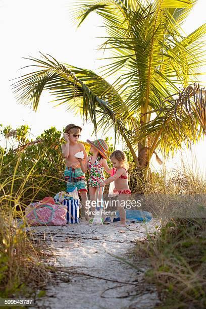 Boy and two sisters collecting seashells at beach, Sanibel, Florida, USA