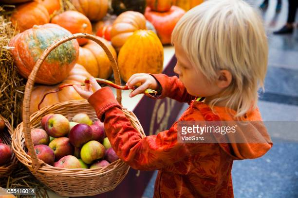 Boy at the farmer's market