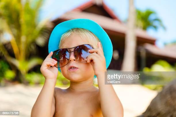 boy at tropical beach