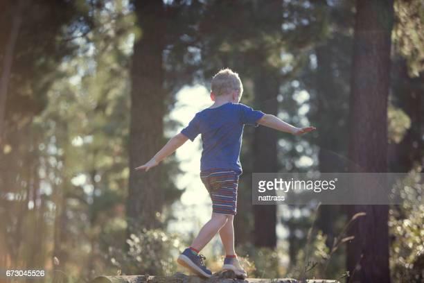 Jongen balanceren op een omgevallen boom stomp