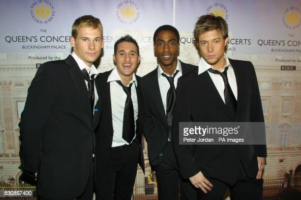 Boy band Blue backstage in the gardens of Buckingham Palace for the second concert to commemorate the Golden Jubilee of Britain's Queen Elizabeth II...