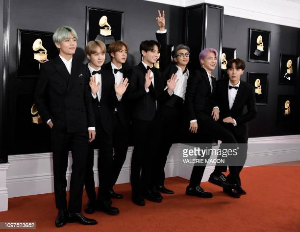 Boy band BTS arrive for the 61st Annual Grammy Awards on February 10 in Los Angeles