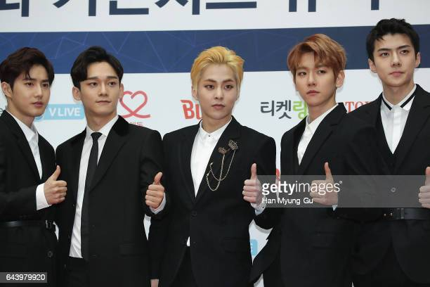 Boy band EXO attends the 6th Gaon Chart KPop Awards on February 22 2017 in Seoul South Korea