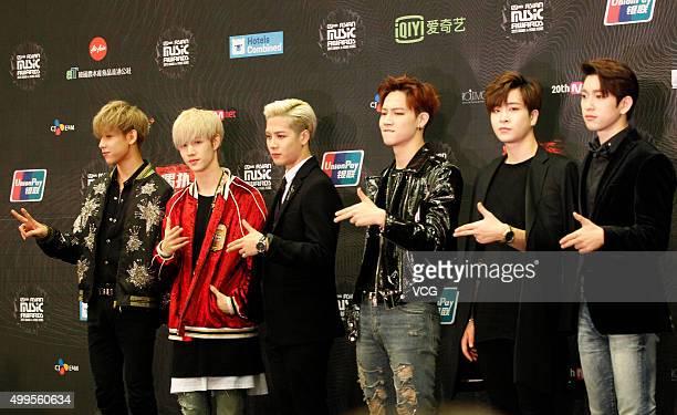 Boy band GOT7 attend 2015 Mnet Asian Music Awards press conference at AsiaWorldExpo on December 2 2015 in Hong Kong China