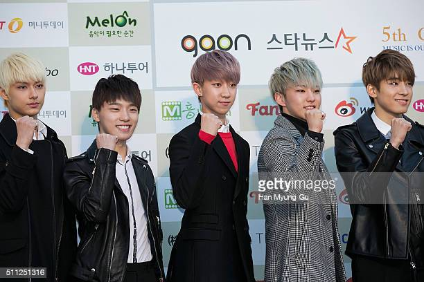 Boy band Seventeen attends the 5th Gaon Chart KPop Awards on February 17 2016 in Seoul South Korea