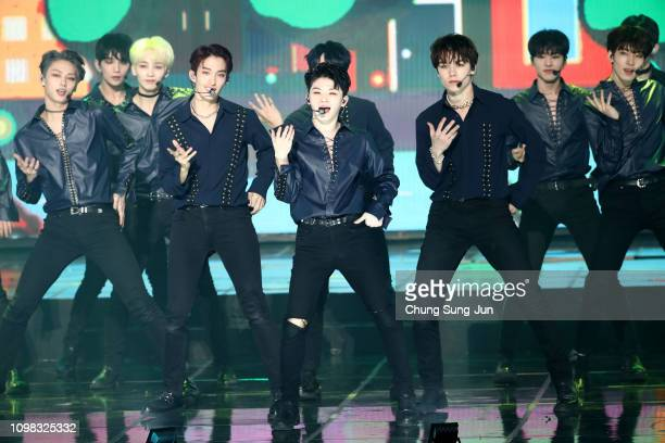 Boy band SEVENTEEN performs on stage during the 8th Gaon Chart KPop Awards on January 23 2019 in Seoul South Korea