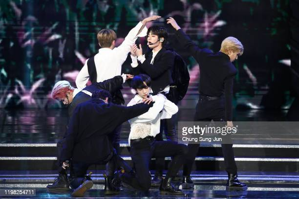 Boy band Stray Kids perform on stage during the 9th Gaon Chart K-Pop Awards on January 08, 2020 in Seoul, South Korea.