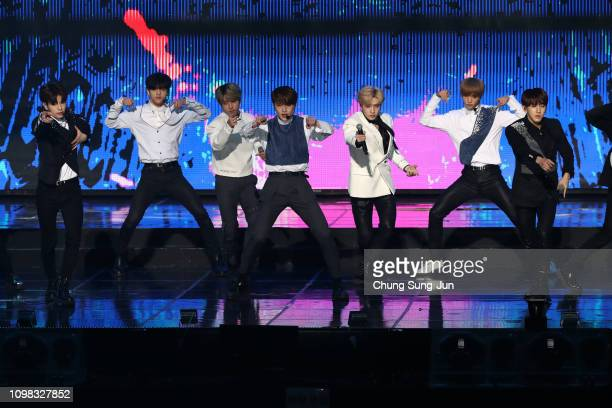 Boy band Stray Kids performs on stage during the 8th Gaon Chart K-Pop Awards on January 23, 2019 in Seoul, South Korea.