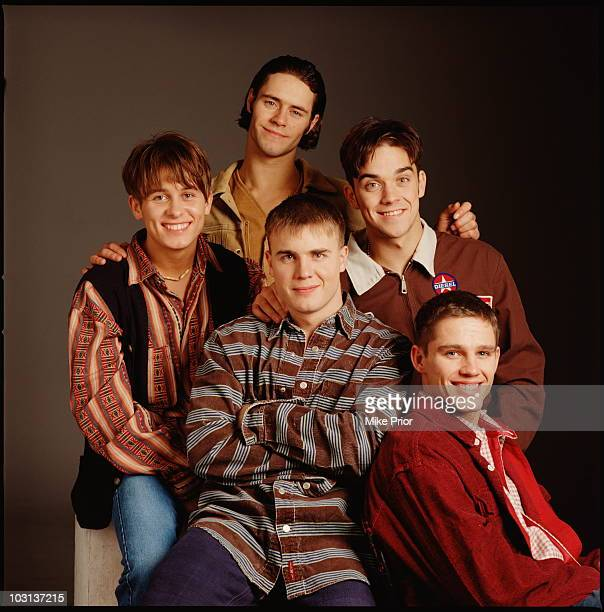 Boy band Take That posed in London in 1995 LR Mark Owen Howard Donald Gary Barlow Robbie Williams Jason Orange