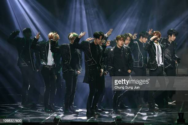 Boy band The Boyz performs on stage during the 8th Gaon Chart KPop Awards on January 23 2019 in Seoul South Korea