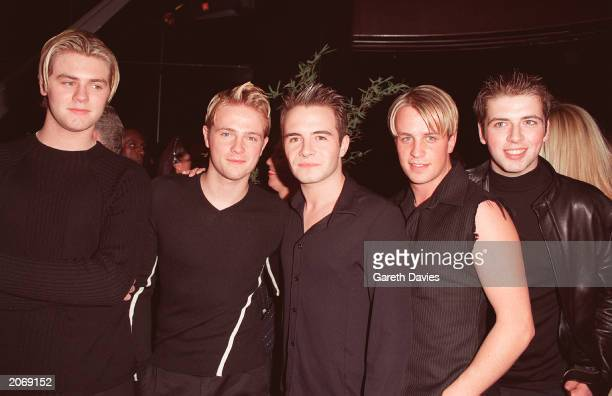 Boy band Westlife at the opening of new club Home in Leicester Square, London, September 9, 1999. Left to right: Bryan McFadden, Nicky Byrne, Shane...