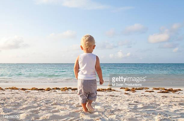 boy beach - baby m stock pictures, royalty-free photos & images
