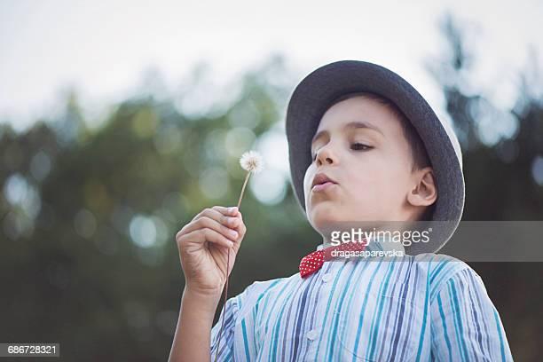 Boy blowing a dandelion clock