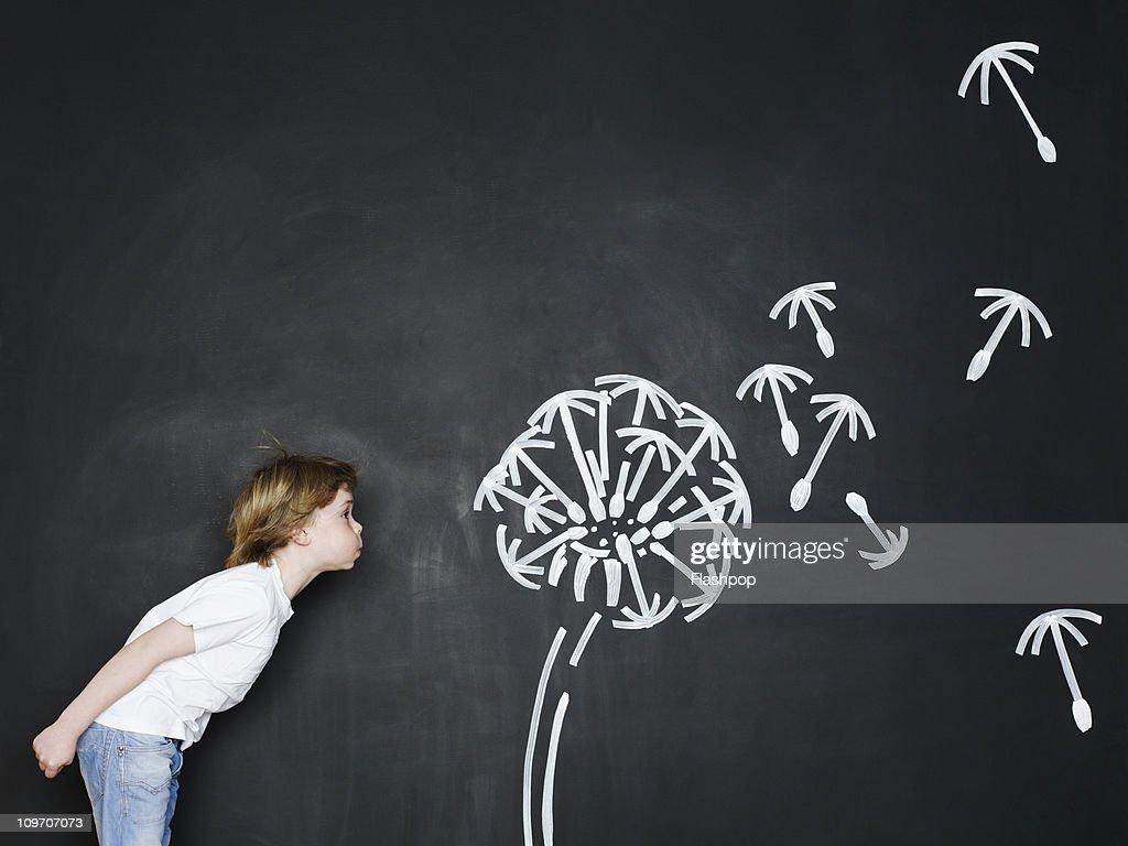 Boy blowing dandelion clock : Stock Photo