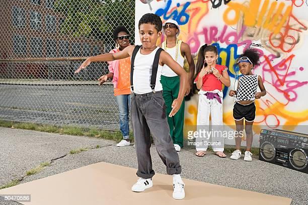 Boy break dancing