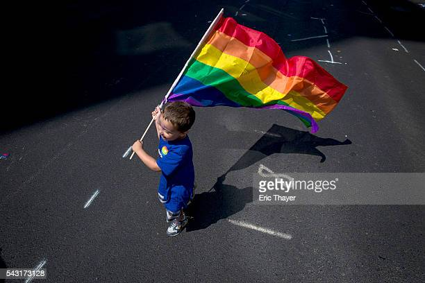 A boy carries a flag during the New York City Pride March June 26 2016 in New York City This year was the 46th Pride march in New York City