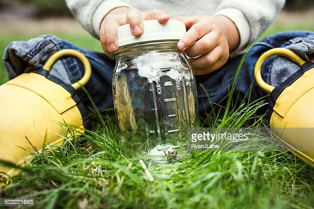 Boy Catching Bugs in Jar