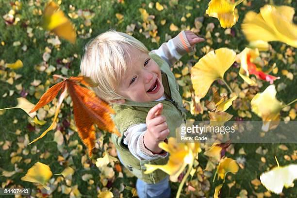 boy catching falling leaves
