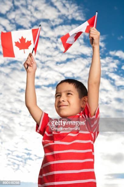 Boy celebrating Canada Day