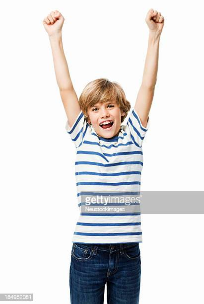 Boy Cheering With Raised Arms - Isolated