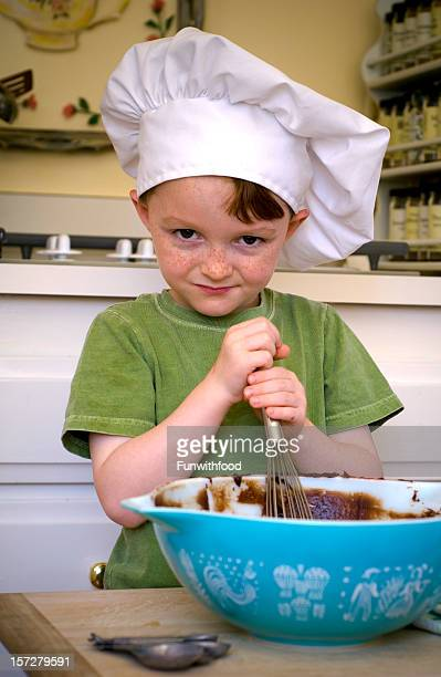 Boy Chef Cooking in Kitchen, Child Baking Cake & Chocolate Brownies