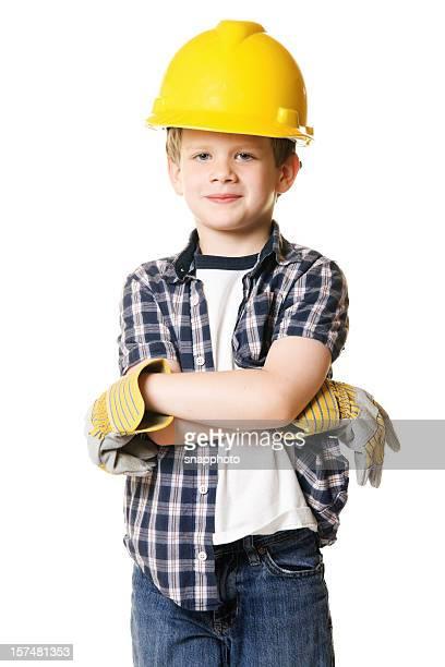 Boy Child Wearing Construction Hard Hat Costume