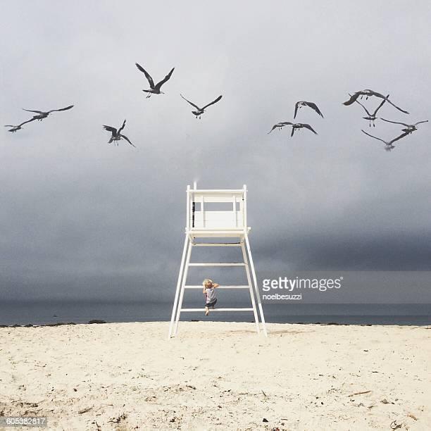 Boy climbing lifeguard chair at beach, california, America, USA