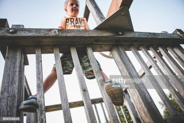Boy Climbing On Backyard Jungle Gym