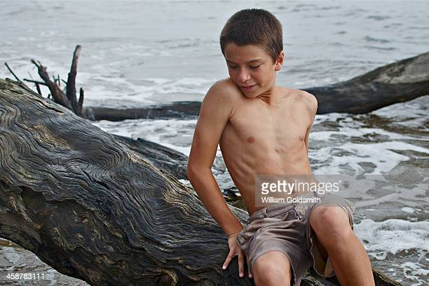 Boy climbing over drift wood