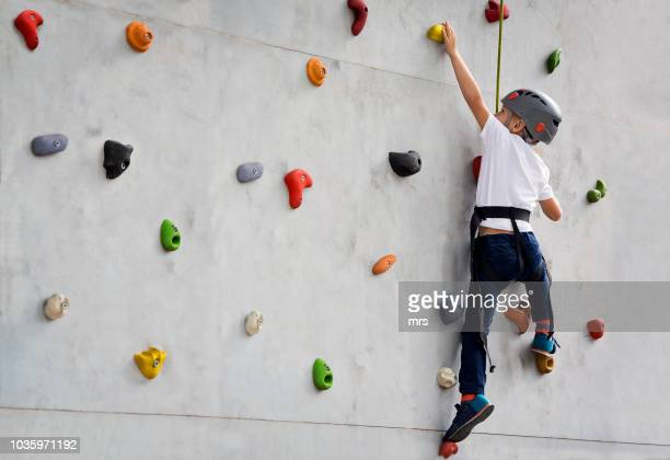 boy climbing up wall - safety harness stock pictures, royalty-free photos & images