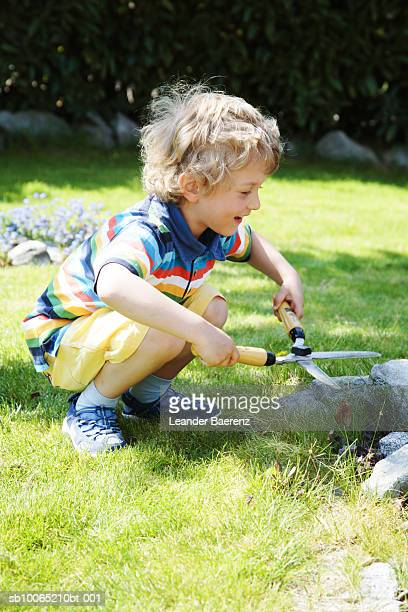 Boy (6-7 years) cutting grass with garden scissors, side view