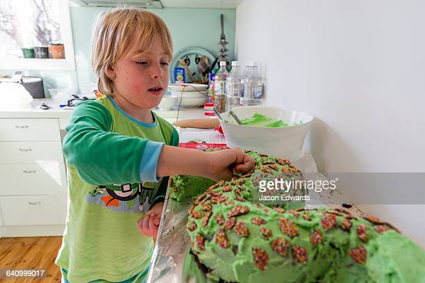 A boy decorates his green chocolate snake birthday cake with chocolate freckles candy.
