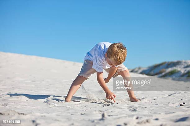 Boy digging in sand on beach
