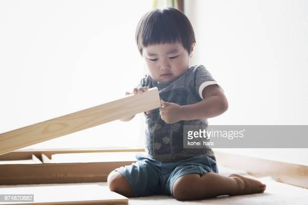 Boy doing DIY at home