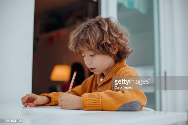 boy doing some homeworks - linkshandig stockfoto's en -beelden