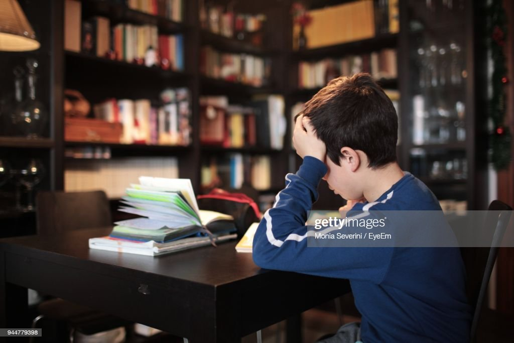 Boy Doing Study At Table : Stock Photo