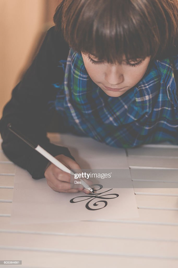Boy Drawing The New Beginning Symbol Stock Photo Getty Images