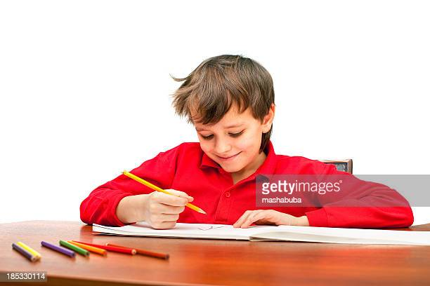 boy draws. - pencil drawing stock pictures, royalty-free photos & images