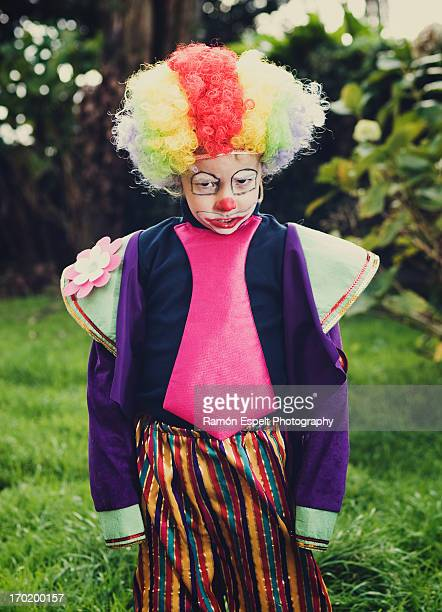 boy dressed as a clown and anger expression - sad clown stock photos and pictures