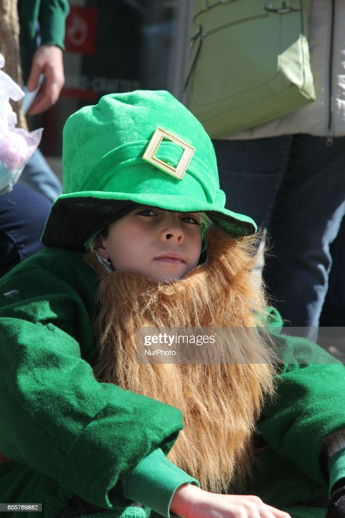 Boy dressed as a leprechaun during the St. Patrick's Day Parade in Toronto, Ontario, Canada, on March 19, 2017.