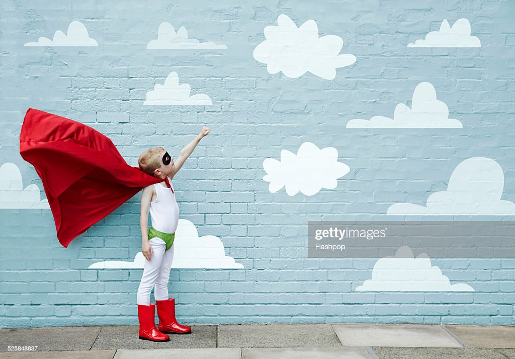 Boy dressed as a superhero : Stock Photo