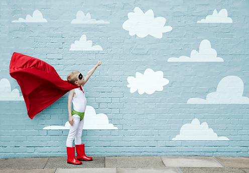 Boy dressed as a superhero - gettyimageskorea