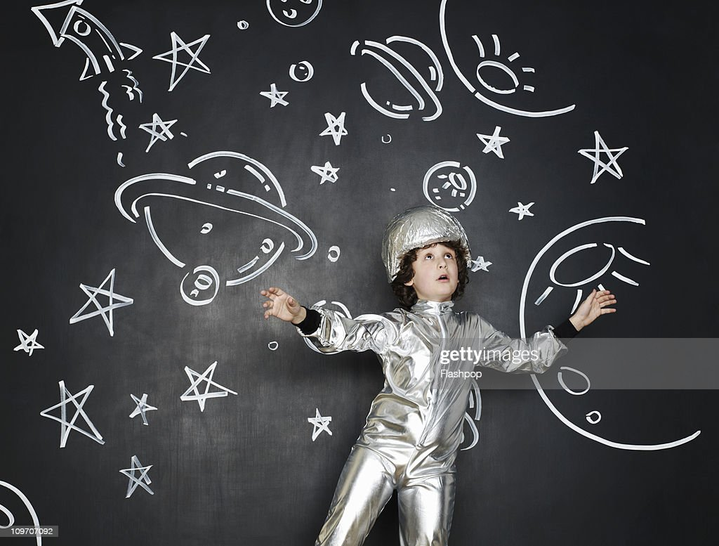 Boy dressed as an astronaut : Stock Photo